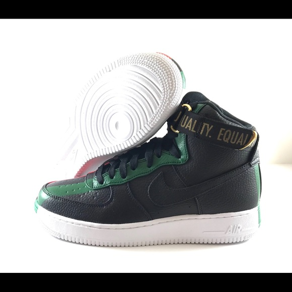 new styles db730 ef850 Air Force 1 High Black History Month Red Green